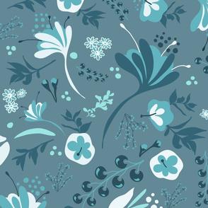 Beautiful Blooms on Dusty Blue