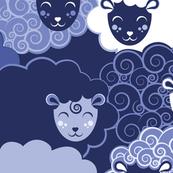 Sweet dreams zzz  // monochromatic blue sheep