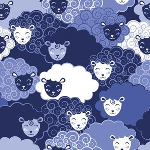 Sweet dreams zzz  // monochromatic blue sheep