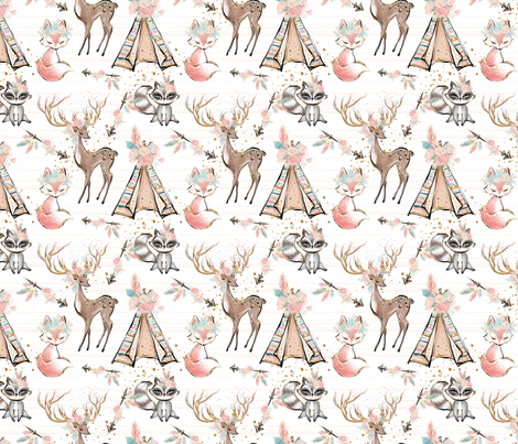 Pretty Glitter Woodland Creatures fabric by comfybabyboutique on Spoonflower - custom fabric
