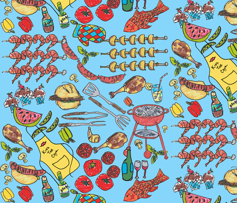 Kiss the Cook; Summertime BBQ fabric by lisakling on Spoonflower - custom fabric