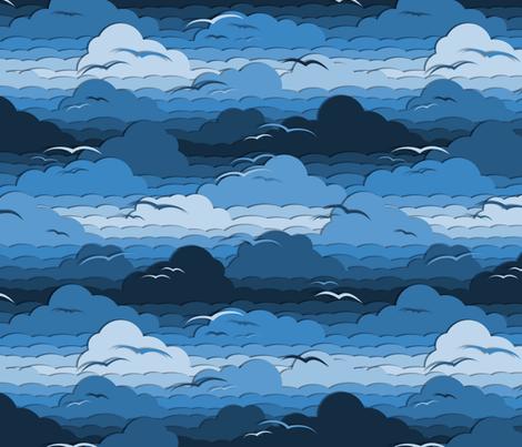 Birds in Cloudy Blue Sky fabric by wickedrefined on Spoonflower - custom fabric