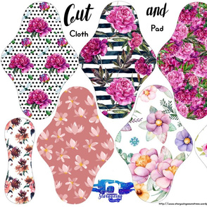 floral cloth pad fabric cut