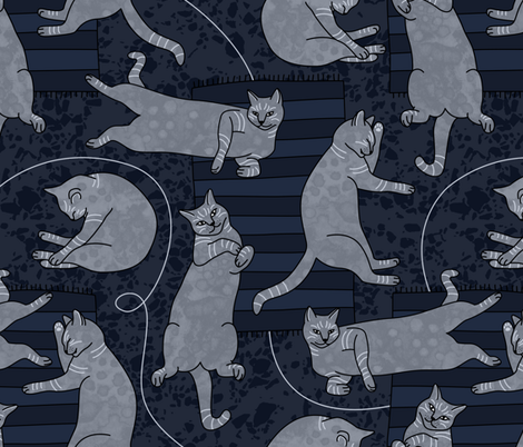Lounging Cats On Terrazzo fabric by elisabeth_fredriksson on Spoonflower - custom fabric