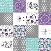 4.5 Inch Dk Purple Be A Unicorn - Wholecloth Cheater Quilt - Rotated