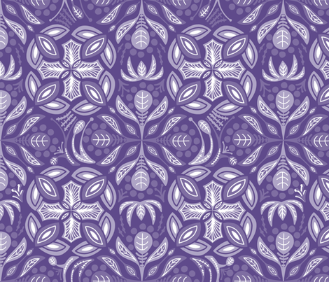 Mysterious Ultra Violet Damask  fabric by danidesign on Spoonflower - custom fabric