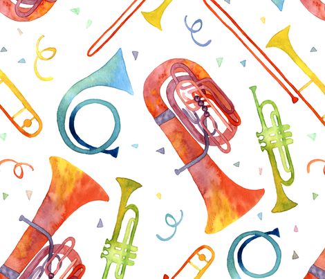Simple Brass Band Watercolor - Large Scale fabric by theplumgrove on Spoonflower - custom fabric