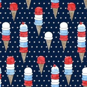 patriotic ice cream - stars on navy