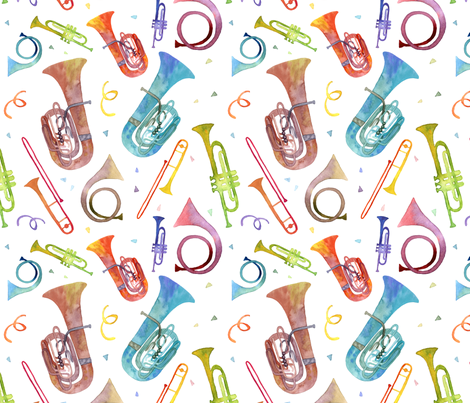 Complex Brass Band Watercolor - Original Scale fabric by theplumgrove on Spoonflower - custom fabric