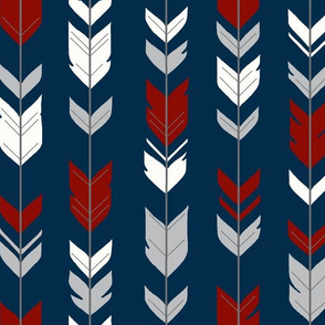 Small arrow Feathers - Red, grey and white on navy