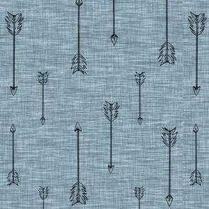 Arrows on Linen - Muted blue