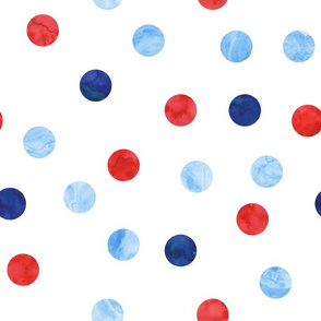 "1.5"" polka dot scatter - red white and blue"