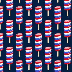 swirly popsicle on navy (red white and blue ice-cream)