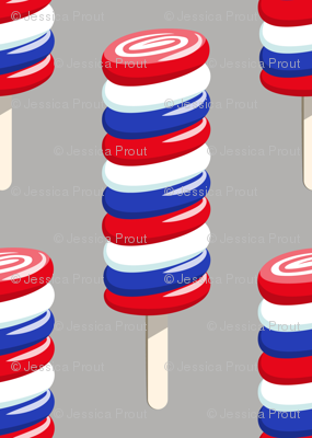 swirly popsicle  on grey (red white and blue ice-cream)