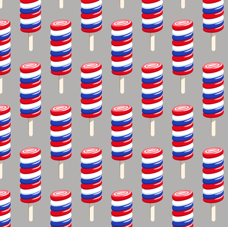 swirly popsicle  on grey (red white and blue ice-cream) fabric by littlearrowdesign on Spoonflower - custom fabric