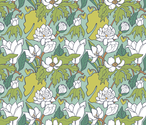 Water Lily & Lotus fabric by rootandbranchpaper on Spoonflower - custom fabric