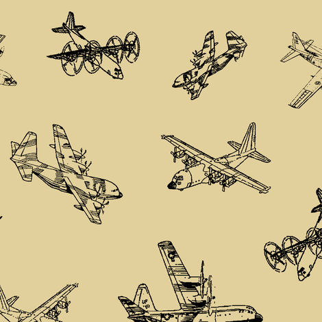 C130s on Tan // Large fabric by thinlinetextiles on Spoonflower - custom fabric