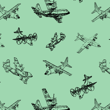 C130s on Green // Small fabric by thinlinetextiles on Spoonflower - custom fabric