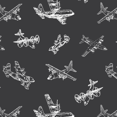 C130s on Charcoal // Small fabric by thinlinetextiles on Spoonflower - custom fabric