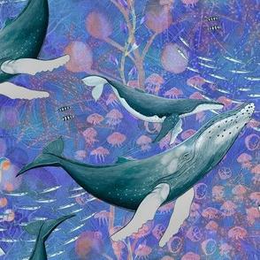 ELEGANT WHALES AQUATIC BALLET BLUE OCEAN