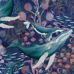 ELEGANT WHALES AQUATIC BALLET DEEP BLUE INDIGO OCEAN