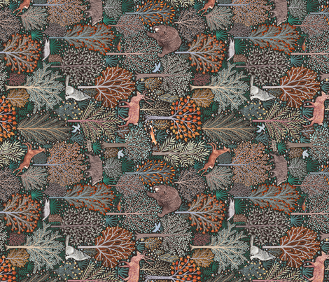Forest animals turned fabric by rebecca_reck_art on Spoonflower - custom fabric