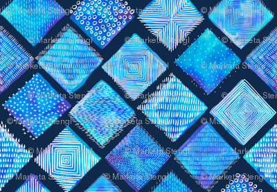 Large Blue Watercolor Tiles with White Texture