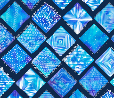 Large Blue Watercolor Tiles with White Texture fabric by marketa_stengl on Spoonflower - custom fabric