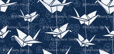Large Blue Monochrome Origami Cranes