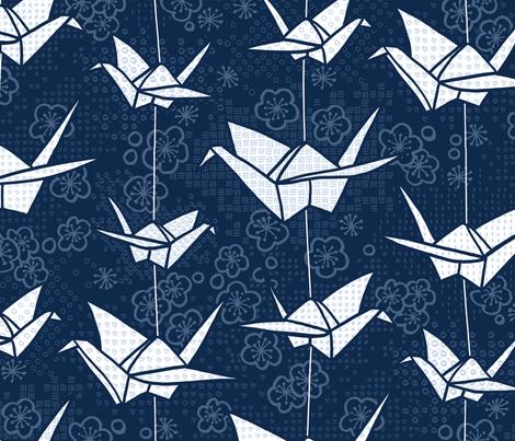 Large Blue Monochrome Origami Cranes fabric by marketa_stengl on Spoonflower - custom fabric