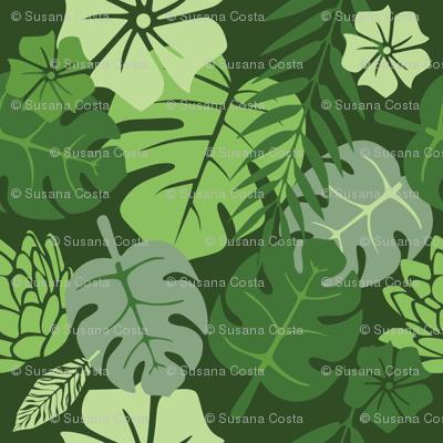 Tropical floral green monochrome