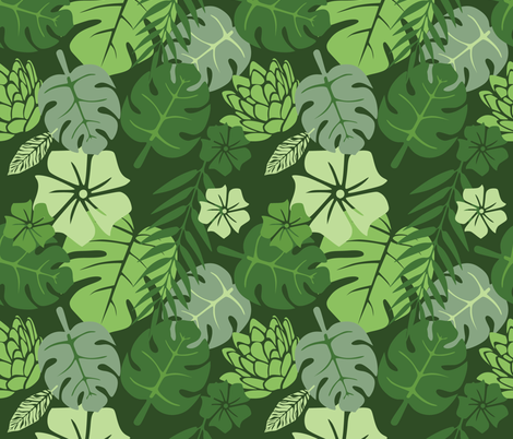 Tropical floral green monochrome fabric by bruxamagica on Spoonflower - custom fabric