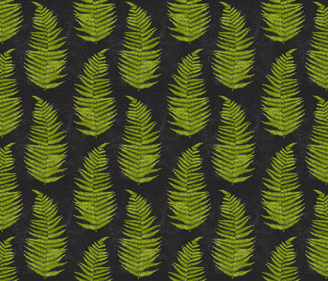 Watercolor Fern Leaves on Black Background fabric by helga_wigandt on Spoonflower - custom fabric
