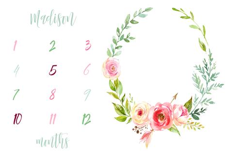 Boho Rose and Eucalyptus Florals Girl Milestone Blanket fabric by hipkiddesigns on Spoonflower - custom fabric