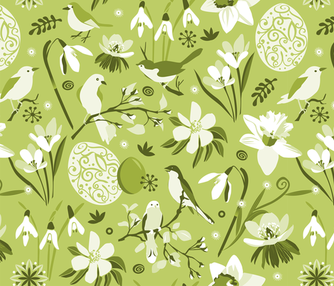 Finally Easter! [mono green] fabric by camcreative on Spoonflower - custom fabric