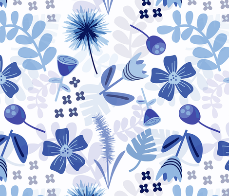 Spring in Monochrome fabric by tomatodumplings on Spoonflower - custom fabric