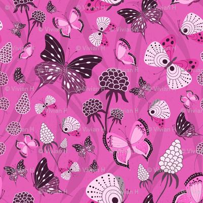 Butterflies Monochrome pink
