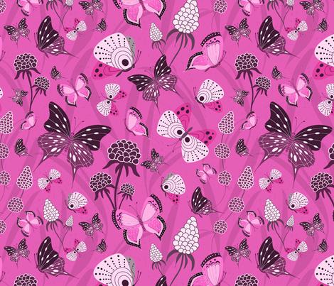 Butterflies Monochrome pink fabric by vivdesign on Spoonflower - custom fabric
