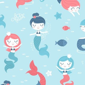 Mermaids - blue and coral