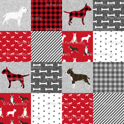 bull terrier pet quilt a dog breed fabric cheater quilt wholecloth