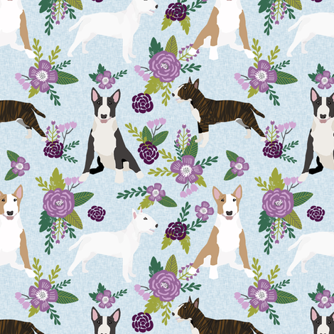bull terrier pet quilt c dog breed fabric quilt coordinate floral fabric by petfriendly on Spoonflower - custom fabric