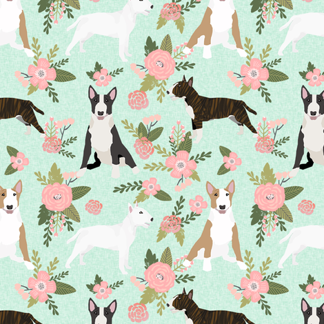 bull terrier pet quilt d dog breed fabric quilt coordinate floral fabric by petfriendly on Spoonflower - custom fabric