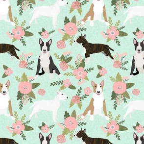bull terrier pet quilt d dog breed fabric quilt coordinate floral
