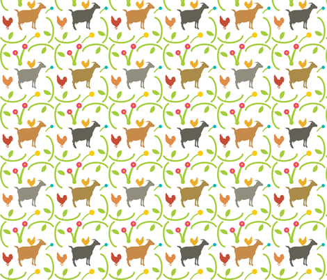 Goats and Hens on White, Farm Animals, Chickens, Playful Friends fabric by galleryinthegardendesigns on Spoonflower - custom fabric