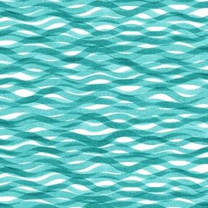 Watercolor waves in sea blue
