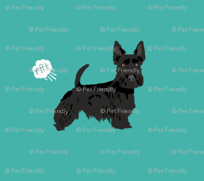 scottie funny dog fart fabric pets pure breed dogs teal