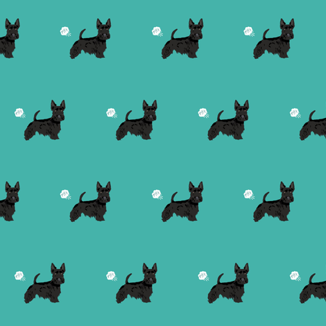 scottie funny dog fart fabric pets pure breed dogs teal fabric by petfriendly on Spoonflower - custom fabric