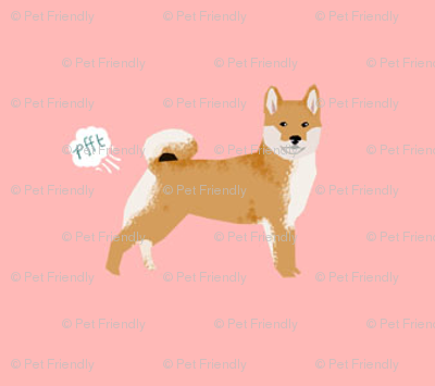 shiba inu funny dog fart fabric pets pure breed dogs pink
