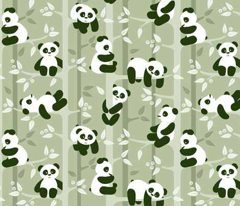 panda forest fabric by heleenvanbuul on Spoonflower - custom fabric