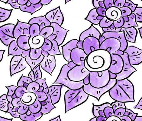 Purple Anemones fabric by sohankhalsacreative on Spoonflower - custom fabric